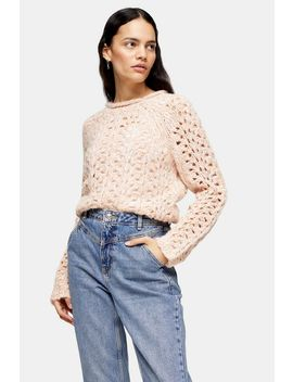 Pink Knitted Open Stitch Jumper by Topshop