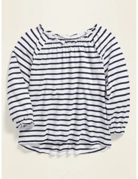 Striped Slub Knit Ruffled Top For Girls by Old Navy