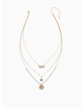 Gold Tone Beaded & Hammered Pendant Layered Necklace by Torrid