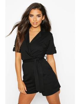 Belted Wrap Over Tailored Playsuit by Boohoo