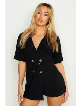 Petite Linen Utility Belted Romper by Boohoo
