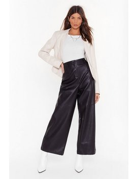 Loving You Faux Leather Wide Leg Pants by Nasty Gal