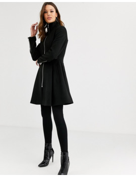Asos Design Tall   Manteau Trapèze Zippé Devant   Noir by Asos Design