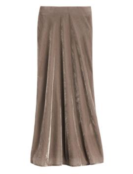 Petite Velvet Midi Slip Skirt by Banana Repbulic