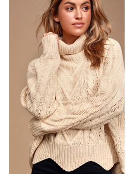 Call Me Cozy Cream Cable Knit Turtleneck Sweater by Lulus