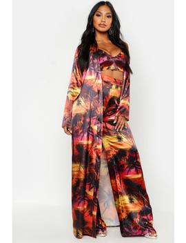 Tropical Print Satin Duster by Boohoo