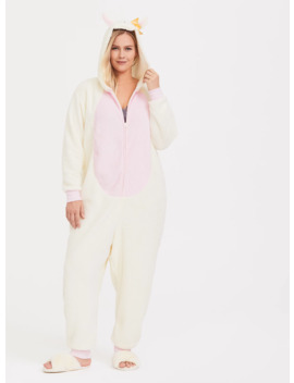 Cream & Pink Llama Fleece Sleep Onesie by Torrid