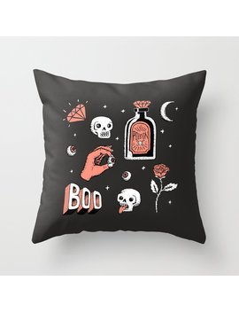 Skeleton Spooky Boye Throw Pillow by Society6