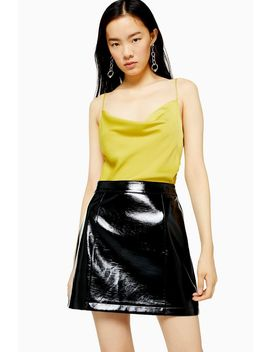 Tall Black Faux Leather Vinyl Mini Skirt by Topshop