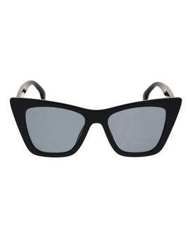 Womens Mod Style Large Square Cat Eye Hipster Plastic Sunglasses All Black by Sa106