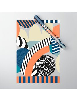 Orange Blue Wrapping Paper by Society6