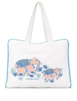 Embroidered Elephant Tote Bag by Hermès Pre Owned