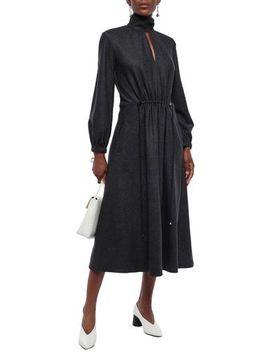 Cutout Pinstriped Wool And Cotton Blend Midi Dress by Tibi