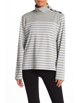Stripe Button Trim Sweater by J. Crew