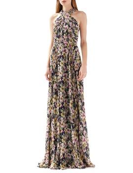 Floral Print Halter Neck Gown by Ml Monique Lhuillier