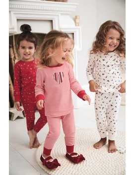 Red 3 Pack Floral Snuggle Pyjamas (9mths 8yrs) by Next