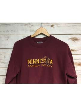 Vintage 90's Women's University Of Minnesota Hockey Crewneck Sweatshirt Embroidered Minnesota Gophers Hockey Crew Neck Sweatshirt   Small by Etsy