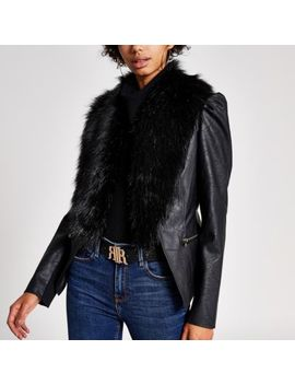 Black Faux Fur Collar Long Puff Sleeve Jacket by River Island
