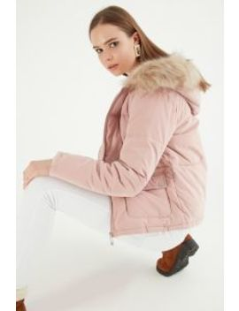Pink Peached Duvet Short Fur Trim Puffer Jacket by Select