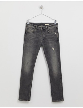 All Saints Cigarette Fit Jeans With Distressing In Washed Black by All Saints