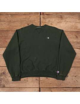 "Mens Vintage Champion Green Crew Neck Sweatshirt Jumper Medium 40"" R12957 by Etsy"