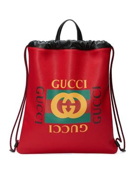 Gucci Print Leather Drawstring Backpack by Gucci