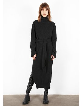 Canaan Turtleneck Dress In Charcoal By Nanushka by The Frankie Shop