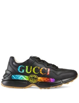 Rhyton Leather Sneaker With Gucci Logo by Gucci