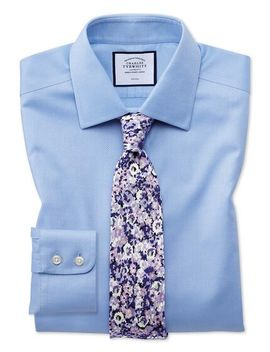 Slim Fit Non Iron Sky Blue Triangle Weave Shirt by Charles Tyrwhitt