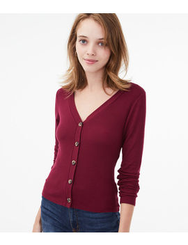 Seriously Soft Button Front V Neck Cardi Tee*** by Aeropostale