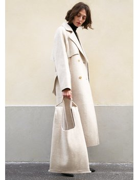 Rice Beige Woolen Belted Coat With Matching Bag by The Frankie Shop