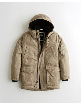 Sherpa Lined Military Parka by Hollister