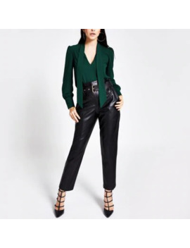 Green Tie Neck Long Sleeve Blouse by River Island