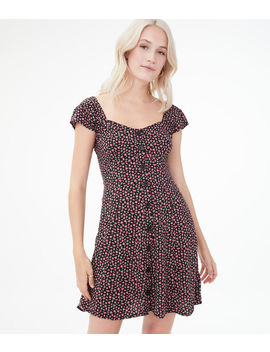 Printed Button Front Fit &Amp; Flare Dress by Aeropostale