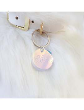 Custom Pet Id Tag For Dogs & Cats   Personalized Hologram Acrylic Name Charm With Personalized Engraved Tag by Etsy