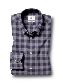 Moss 1851 Tailored Fit Charcoal Single Cuff Check Shirt by Moss Bros