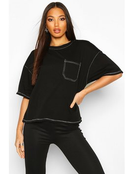 Contrast Stitch Pocket Detail T Shirt by Boohoo