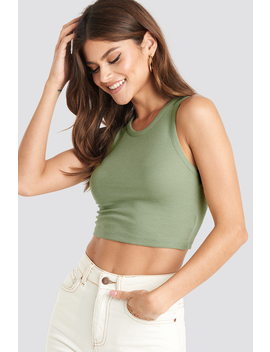 Cropped Ribbed Top Grön by Na Kd Trend