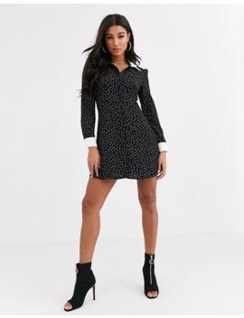 Boohoo Mini Shirt Dress With Contrast Collar In Black Polka Dot by Boohoo
