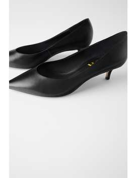Mid Heel Leather Shoes by Zara