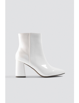 Glossy Patent Boots Vit by Na Kd Shoes