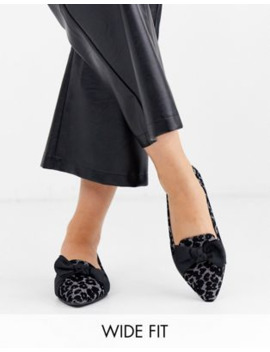 Simply Be Wide Fit Trixi Pointed Toe Pumps In Leopard by Simply Be