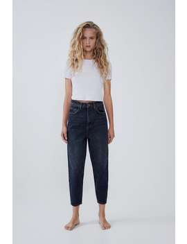 Tapered Hi Rise Jeans by Zara