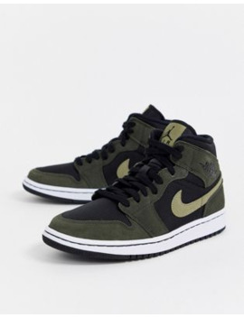 Nike Jordan 1 Mid Black And Green Trainers by Asos