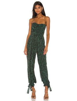 X Revolve Gwendolyn Jumpsuit In Green Snake by Michael Costello