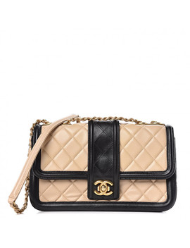 Chanel Lambskin Quilted Medium Elegant Cc Flap Beige Black by Chanel