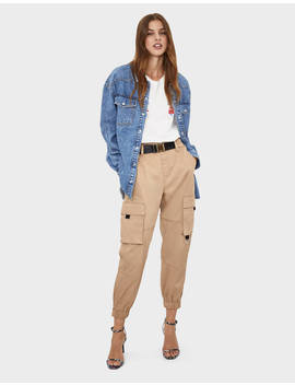 Belted Cargo Trousers  Trousers   Women | Bershka by Bershka