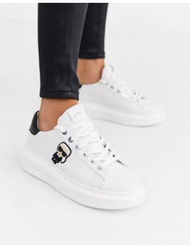 Karl Lagerfeld White Leather Platform Sole Trainers With Black Trim by Karl Lagerfeld