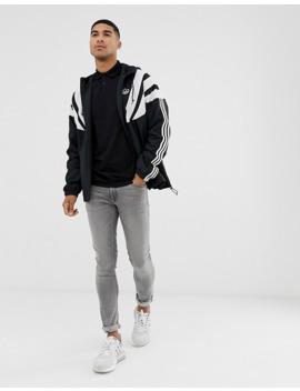 Adidas Originals Windbreaker Jacket With 3 Stripes In Black by Adidas Originals