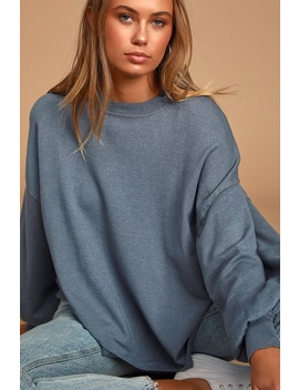 Cozy Comforts Slate Blue Dolman Sleeve Sweater Top by Lulus